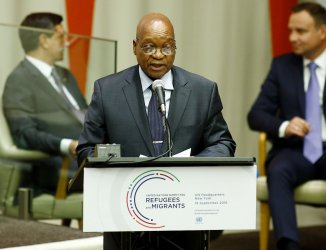 Jacob Zuma speaks at summit meeting for refugee crisis at the UN
