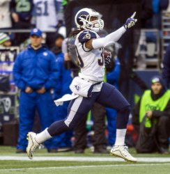 The Los Angeles Rams lead 34-0 at halftime over the Seattle Seahawk in Seattle