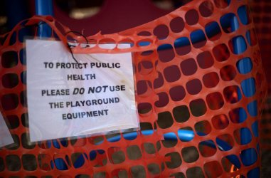 A playground is closed off during the COVID-19 Pandemic in Maryland