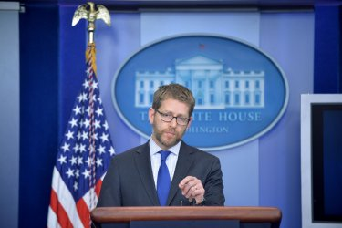 Jay Carney Holds the Daily White House Press Briefing in Washington, D.C.
