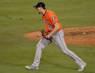 Astros pitcher Morton celebrates win in the World Series
