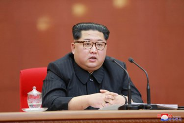North Korean Leader Kim Jong Un Addresses Central Committee of the Workers' Party of Korea