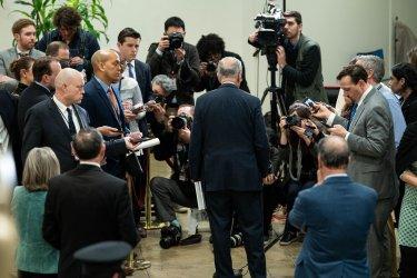 U.S. Sen. Minority Leader Chuck Schumer speaaks to media