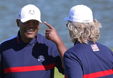Samuel L. Jackson and Kurt Russell play celebrity tournament at the Ryder Cup 2018