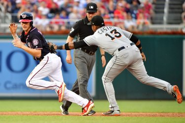 Nationals shortstop Trea Turner is tagged out