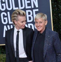 Portia de Rossi and Ellen DeGeneres attend the 77th Golden Globe Awards in Beverly Hills