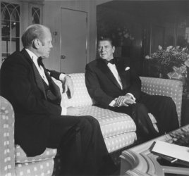 President Ford Chats with Ronald Reagan Before Fundraiser