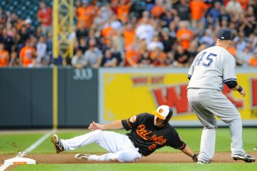 J.J. Hardy slide in Baltimore, MD