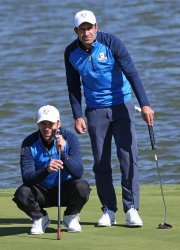 Alessandro Del Piero and Luis Figo play celebrity tournament at the Ryder Cup 2018
