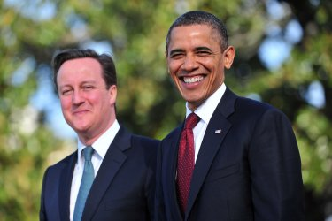 President Obama welcomes UK Prime Minister David Cameron to the White House in Washington