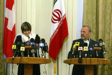 Iran's foreign minister Manouchehr Mottaki meets with his Swiss counterpart in Tehran.
