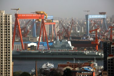 China's first domestically built aircraft carrier is parked in Dalian, China