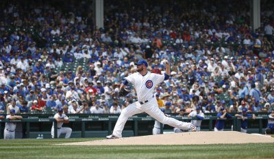 Cubs pitcher Jon Lester delivers against the Padres in Chicago