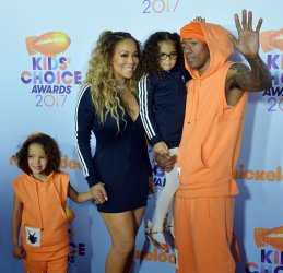 Mariah Carey and Nick Cannon attend the Kids' Choice Awards with twins in Los Angeles