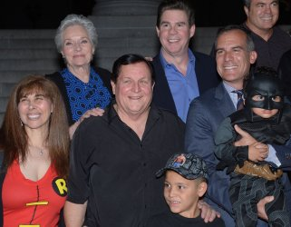 "Adam West honored with ""bat signal"" at city hall in Los Angeles"