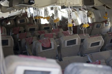 Interior view of the wreckage of Asiana Flight 214