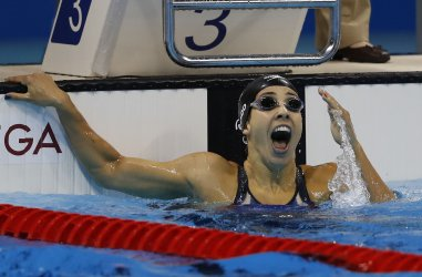 Madeline Dirado (USA) wins the gold in the Women's 200M Backstroke at the 2016 Rio Olympics