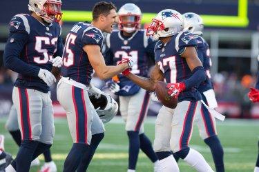 Patriots Hogan and Jackson celebrate against Bills