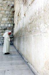Pope John Paul II prays at the Western Wall in Jerusalem