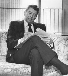 President Reagan Works on State of the Union Address