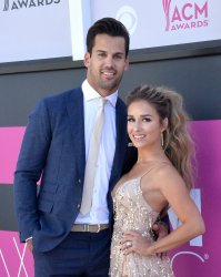 Eric Decker and Jessie James Decker attend the 52nd annual Academy of Country Music Awards in Las Vegas
