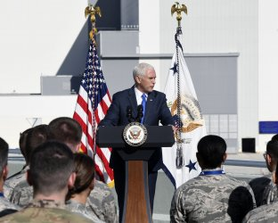 VP Pence speaks at the Kennedy Space Center.
