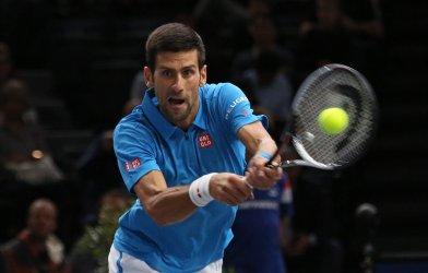 Novak Djokovic wins his BNP Paribas Masters tennis match in Paris