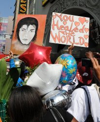 Fans gather at Michael Jackson's Hollywood Walk of Fame star in Los Angeles