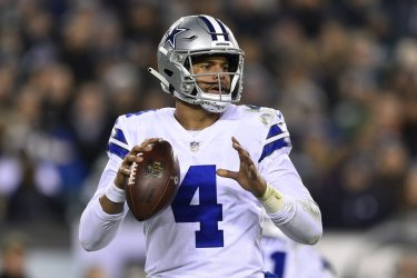 Cowboys quarterback Dak Prescott drops back to pass