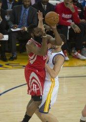 Rockets James Harden puts up a shot against Warriors