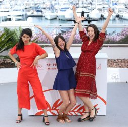 Lina Caicedo, Raquel Alvarez and Fiammetta Luino attend the Cannes Film Festival
