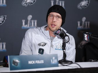Philadelphia Eagles quarterback Nick Foles speaks in Bloomington