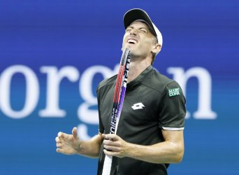 John Millman of Australia reacts after losing a point at the US Open