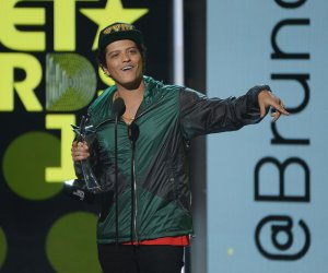 Bruno Mars accepts award for Best Male R&B/Pop Artist at the BET Awards in Los Angeles