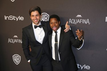 Josh Peck (L) and Jason Mitchell attend the InStyle and Warner Bros. Golden Globe after-party in Beverly Hills