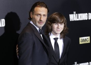 Andrew Lincoln and Chandler Riggs at The Walking Dead' Premiere