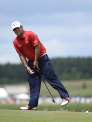 Patrick Reed reacts after missing birdie attrempt during final round of U.S. Open