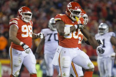Kansas City Chiefs Justin Houston celebrates after a tackle