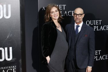 Felicity Blunt, Stanley Tucci at premiere for 'A Quiet Place'