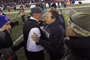 Patriots Belichick shakes hands with Bills Ryan