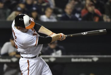 Orioles' Mark Trumbo hits a two-run homer against the Yankees