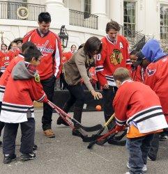 Michelle Obama hosts street hockey at White House