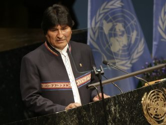 Juan Evo Morales Ayma at the Climate Change meeting