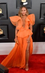 Chrissy Teigen arrives for the 62nd annual Grammy Awards in Los Angeles
