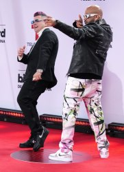 Jowell & Randy walk the red carpet at the 2020 Latin Billboard Awards in Sunrise, Florida