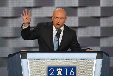 Retired NASA astronaut Mark Kelly addresses delegates at the DNC convention in Philadelphia