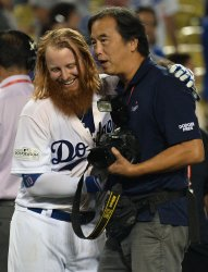 Dodgers Turner reacts after hitting walk off home run in the NLCS