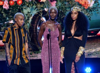 Lena Waithe, Jodie Turner-Smith and Melina Matsoukas onstage during the 19th annual BET Awards in Los Angeles