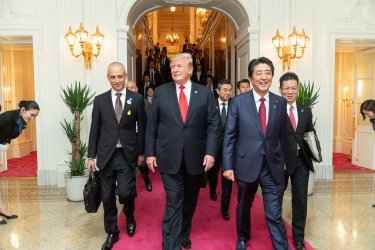 President Donald Trump Meets with Japan's Prime Minister Abe and Emperor Naruhito