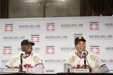 Mike Piazza and Ken Griffey Jr. wear there Hall of Fame Jerseys